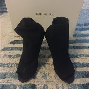 Karen Millen Black Elastic Peep Toe Shoe Boot